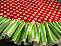 """46"""" red polka dots and lime green stripe whimsical Christmas tree skirt with ruffle"""