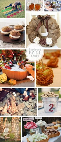 Some Neat Ideas for a fall or Halloween party! :) these are great ideas for my Birthday party next month! Fall Halloween, Halloween Party, Halloween Pumpkins, Fall Harvest Party, Fall Bonfire Party, Fall Festival Party, Fall Birthday Parties, 16th Birthday, Bonfire Birthday