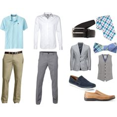 """Men's Casual Summer Wedding Attire"" In blue, grey, and kaki."