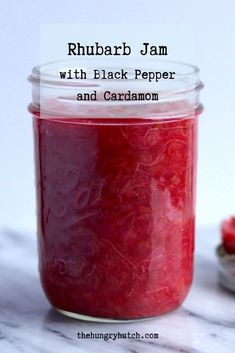 A tart rhubarb jam flavored with black pepper and cardamom. Perfect for slathering on toast, with peanut butter on a sandwich, or served warm over ice cream. Fun Easy Recipes, Sweet Recipes, Rhubarb Jam Recipes, Tart Taste, Decadent Chocolate Cake, Sandwiches For Lunch, Food Blogs, Dessert Recipes, Desserts