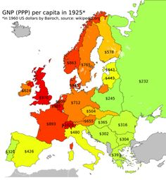 GNP (PPP) per capita in Europe, 1925. Turkic Languages, Semitic Languages, Golden Horde, Blue Green Eyes, Indian Language, World Geography, Historical Maps, World History, Rugs On Carpet