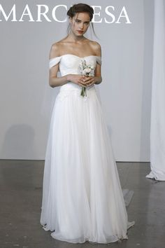 Marchesa off-the-shoulder wedding dress