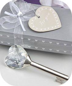 Crystal Heart Key Favors - favors for weddings - coupon code saveme5