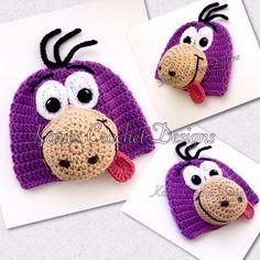 Dino Flintstone Beanie Hat Crocheted #Beanie