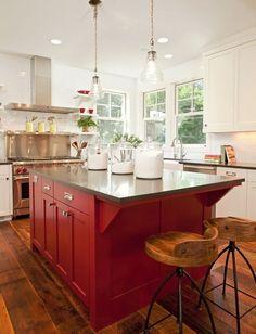 Paint Kitchen island Ideas Red Painted Kitchen island with All White Kitchen Cabinets Red Kitchen Cabinets, Painted Kitchen Island, Stools For Kitchen Island, Island Stools, White Cabinets, Kitchen Islands, Red Kitchen Walls, Bar Stools, Painted Island
