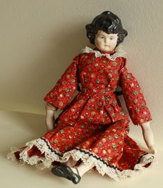 Antique Porcelain Dolls | Antique Porcelain Doll. Vintage Painted Porcelain Doll with Black Hair ...