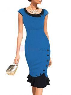 Plus Size Overknee Inclined Peter Pan Collar Decorative Buttons Mermaid Dress Sheath Dress on fashionsure.com