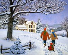 """John Sloane -- """"Pulling Together"""", depicting cheerful family togetherness, returning from a lively day spent together on the sledding hill, heading back home to a warm fire and hot chocolate."""