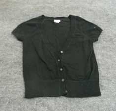Mossimo Black Short Sleeve Button-Up Cardigan Sweater Size XS #Mossimo #Cardigan