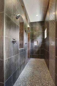 27 Walk in Shower Tile Ideas That Will Inspire You - douche Walk Through Shower, Walk In Shower, Small Walkin Shower, Master Bathroom Shower, Steam Showers Bathroom, Modern Bathroom, Showers Without Doors, Douche Design, Shower Remodel