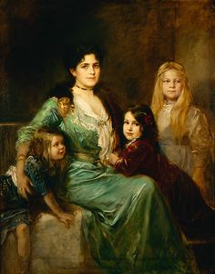 Friedrich August von Kaulbach (German, 1850-1920). Porträt der Familie des Künstlers (Portrait of the Artist's Family), ca. 1907. Oil on canvas. 63 x 49 in. Charles and Emma Frye Collection, 1952.078