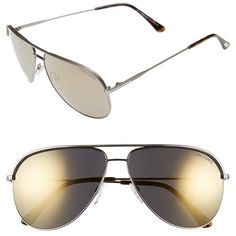 Tom Ford 'Erin' 61mm Aviator Sunglasses ($390) ❤ liked on Polyvore featuring accessories, eyewear, sunglasses, aviator style sunglasses, uv protection sunglasses, metal-frame sunglasses, tom ford eyewear and lens glasses