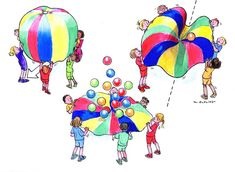 Parachute Game ideas - uploaded a games idea sheet to their website. Parachute games are great for all ages. Parachute Games For Kids, Gym Games For Kids, Yoga For Kids, Kids Gym, Gross Motor Activities, Movement Activities, Preschool Activities, Physical Activities, Theme Sport
