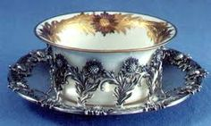 Tiffany & Co. 'Chrysanthemum' Pattern Antique Sterling Silver Bisque Cups, c.