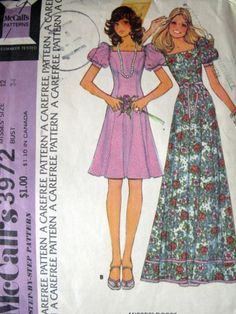Vintage McCall 3972 Pattern Short Sleeve Long Short Dress 1974 | alwaysdaddysgirl - Handmade Supplies on ArtFire