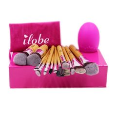 ILOBE Bamboo Handle Premium Soft Synthetic Hair 12 Piece Best Makeup Brushes Set Cosmetic Powder Foundation Blush Eyeshadow Mascara Lipstick Brush Kits Plus 1 Piece Makeup Cleaning Egg *** Find out more about the great product at the image link. Best Makeup Brushes, Makeup Brush Set, Best Makeup Products, Makeup Sets, Synthetic Brushes, Synthetic Hair, Lipstick Brush, Makeup Bag Essentials, Eyebrow Makeup