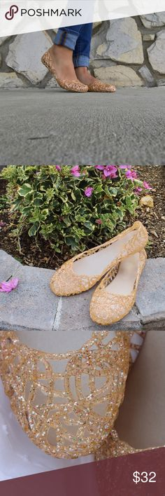 NEW Glitter Sparkle Fun Rose Jelly Flats •Perfect for any occasion from big Day to a walk around town! These go with everything In your closet and can easily be dressed up or down!•  •Brand New• •Cut Out Design• •Jelly Flats•  •Fitment: Runs Slightly Larger. Selected your size or a half size smaller would be suggested•  •Feel Free to Ask Questions!•  🌷www.thefairyden.com🌷  Free shipping and promo codes available on my website! Shoes Flats & Loafers