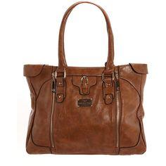 Camel zip detail shopper bag found on Polyvore