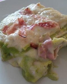 Lasagne con crema di asparagi e prosciutto cotto