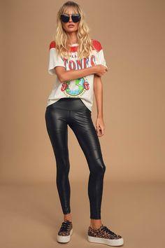 Chic Black Leggings - Vegan Leather Leggings - Cropped Leggings - Lulus High Waisted Leather Leggings, Leather Leggings Outfit, Black Leggings, Leather Pants, Fall Fashion Outfits, Autumn Fashion, Affordable Clothes, Skinny Pants, Vegan Leather