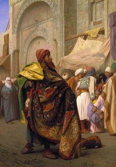 Jean-Leon Gerome(1824-1904)-ORİENTALİSM-(The Carpet Merchant of Cairo_1869)Oil on canvas(81x60 cm)