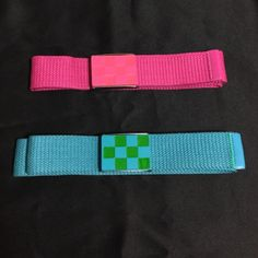Assorted Belts Sold as a set. Basic checkered design buckles with bright popping colors. Brand New Accessories Belts