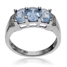 Journee Collection Sterling Topaz 3-stone Ring