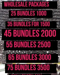 These prices does not include shipping fee or PayPal fee Looking For One Length But Need 25 Bundles Of It Shop Here If You Looking For An Opprtunity Of Starting Your Own Business Or Already In Business We Are Your One Stop Shop For Your Wholesale Needs. Our Custom Packs Are Specifically Designed For Those To Mix And Match Their Textures As Well As Lengths.Please Email Me or Dm Your Interest In Wholesale. Mix and Match Price List  Are  You BarbinIt On A Budget?But Want Good Quality Long…