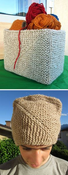 Free Knitting Pattern for Gennaio Basket / Hat - Here's a fun multi-purpose project for a mitered container inspired by origami. This versatile project can be used as storage if reinforced with cardboard or even worn as a hat. Dimensions: about cm 20.5 x 12 x 16.5h but easy to adjust. Designed byAlice Liotto. Available in English andItalian.