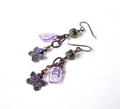 Silver butterfly earrings leaf earrings by sparklecityjewelry