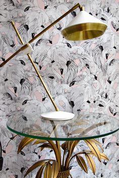Flamingo by 17 Patterns - Pink - Wallpaper : Wallpaper Direct Flamingo Wallpaper, Pink Wallpaper, Pattern Wallpaper, Feather Wallpaper, Bathroom Wallpaper Trends, Home Wallpaper, Bird Bedroom, Master Bedroom, Flamingo Decor