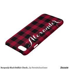 Burgundy Black Buffalo Check Plaid Name Monogram iPhone 7 Case Iphone 7 Cases, Iphone 8, Apple Iphone, New Phones, Buffalo Check, Create Your Own, Burgundy, Typography, Monogram