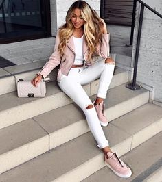 All white outfit with blush leather jacket and sneakers