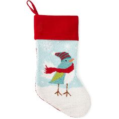 North Pole Trading Co. Monogrammable Needlepoint Bird Stocking ($12) ❤ liked on Polyvore featuring home, home decor, holiday decorations, needlepoint christmas stockings and bird home decor