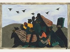 Jacob Lawrence, The Migration Series, Panel no. 3: From every southern town migrants left by the hundreds to travel north., between 1940 and 1941. Casein tempera on hardboard, 12 x 18 in. Acquired 1942. The Phillips Collection, Washington, D.C.