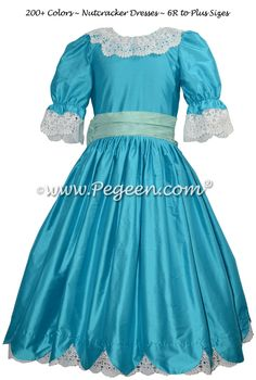 Deep Sea teal blue Clara or Party Scene Costume for Nutcracker Ballet