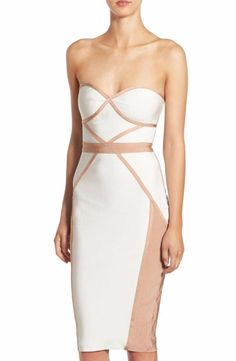 Missguided Contrast Piping Body-Con Dress Size 6 US (10UK) Ivory $103 FTC #4049