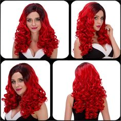 Fashion Long Wavy Side Parting Black Mixed Red Women's Cosplay Lolita Synthetic Wig