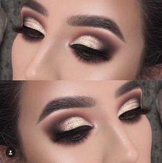 Bold Glitter Eye Look | Smokey Eye makeup | Black Brown Gold Eye shadow #eyemake