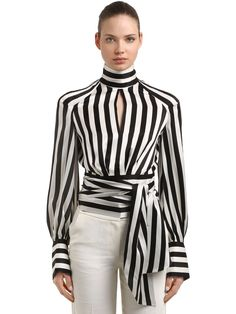 PETAR PETROV, Striped silk satin blouse, Black/white, Luisaviaroma