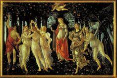 Botticelli: Allegoria della Primavera (1478) - Uffizi, Firenze    A mix of symbolism and expressions of love, Primavera is one of Botticelli's most complex works.