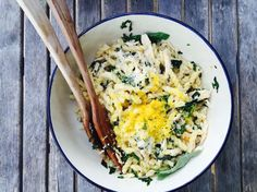 { lemon + greens + chicken spring pasta }
