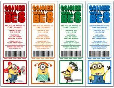 "Despicable Me Minions Birthday Party Invitation Tickets w/Souvenir Card Stubs UPrint-8 1/2"" x 11"" Personalized PDF file"
