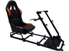 6 x Gamesitz Rennsimulator für Rennspiele an PC und Spielekonsole schwarz/orange