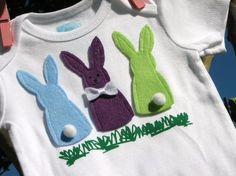 Easter DIY Onesie...are bunny bums too girly for a boy to wear? I wouldn't do the purple.