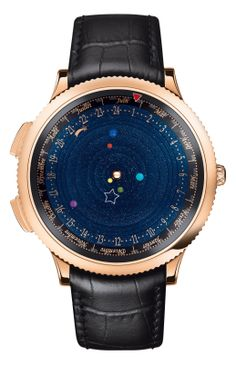 VAN CLEEF & ARPELS MIDNIGHT PLANETARIUM (These are set in motion thanks to a complex 396-part self-winding mechanical movement developed in partnership with Maison Christiaan van der Klaauw. The movement of each planet is true to its genuine length of orbit: it will take Saturn over 29 years to make a complete circuit of the dial, while Jupiter will take almost 12 years, Mars 687 days, Earth 365 days, Venus 224 days and Mercury 88 days.)