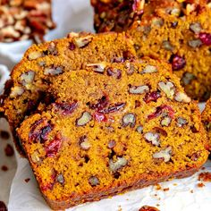 This extra delicious and supremely moist Cranberry Pecan Pumpkin Bread is bursting with fall flavors! So easy to make to and a guaranteed hit with friends and family this holiday season. Pecan Recipes, Cranberry Recipes, Pumpkin Recipes, Sweet Recipes, Pudding Recipes, Bread Recipes, Holiday Recipes, Pumpkin Cranberry Bread, Baked Pumpkin