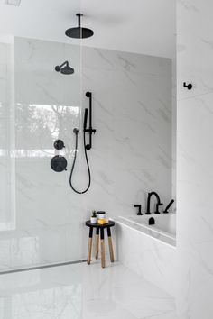 Home Renovation Bathroom Handsart- Interior Design Portfolio, Winnipeg. Black White Bathrooms, Modern White Bathroom, Modern Bathroom Design, Bathroom Interior Design, White House Interior, White Interior Design, Home Interior, Contemporary Interior, Design Scandinavian