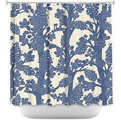 DiaNoche Designs Shower Curtains by Julia Grifol Romantic... #pattern  #art #homedecor #deco #curtain #bath #shower #blue #romantic #floral