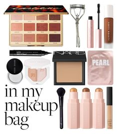 """""""In My Makeup Bag"""" by queen-elizabeth2000 ❤ liked on Polyvore featuring beauty, NARS Cosmetics, Lapcos, Puma, Japonesque, Too Faced Cosmetics, NYX, Forever 21 and Bobbi Brown Cosmetics"""